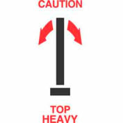"Caution-Top Heavy 2-1/2"" x 7"" - White / Red / Black"