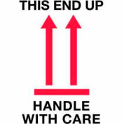 """This Side Up Handle With Care 4"""" x 6"""" - White / Red / Black"""