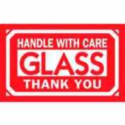 "Glass Handle With Care Thank You 2"" x 3"" - White / Red"