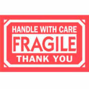 """Fragile Handle With Care Thank You 2"""" x 3"""" - White / Red"""