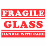 """Fragile Glass Handle With Care 3"""" x 5"""" - White / Red"""