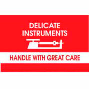 """Delicate Instrument Handle With Great Care 3"""" x 5"""" - White / Red"""