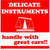 "Delicate Instrument Handle With Great Care 4"" x 4"" - White / Red"