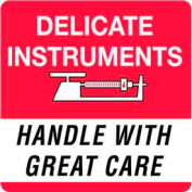 """Delicate Instrument Handle With Care 4"""" x 4"""" - White / Red / Black"""