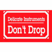 """Delicate Instrument Don't Drop 3"""" x 5"""" W/Border - White / Red"""