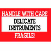 "Delicate Instruments Handle With Care 2"" x 3"" - White / Red / Black"