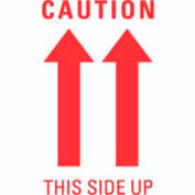 "Caution This Side Up (Double Arrow) 3"" x 5"" - White / Red"