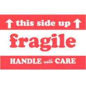 """Paper Labels w/ """"Fragile This Side Up Handle w/ Care"""" Print, 5""""L x 3""""W, Red/White, Roll of 500"""