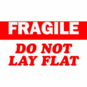 "Fragile Do Not Lay Flat 3"" x 5"" - White / Red"