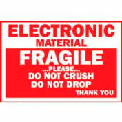 "Fragile Electronic Material 3"" x 4"" - White / Red"