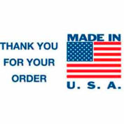 "Made In USA Thank You 3"" x 5"" - White / Red / Blue"