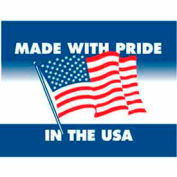 "Made With Pride In USA 3"" x 4"" - White / Red / Blue"