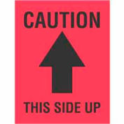 """Caution This Side Up 4"""" x 3"""" - Fluorescent Red / Black"""