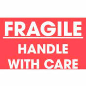 "Fragile Handle With Care 3"" x 5"" - Red / White Text"
