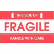 "Fragile This Side Up Handle With Care 3"" x 5"" Style 2- White / Red"