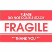 """Labels w/ """"Fragile Please Do Not Double Stack Thank You"""" Print, 5""""L x 3""""W, Red/White, Roll of 500"""