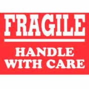 "Fragile Handle With Care 3"" x 4"" Label - Red / White"
