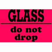 "Glass Do Not Drop 3"" x 4"" - Fluorescent Red / Black"