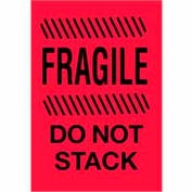 "Fragile Do Not Stack 4"" x 6"" - Fluorescent Red / Black"