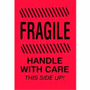 """Fragile Handle With Care This Side Up 4"""" x 6"""" - Fluorescent Red / Black"""