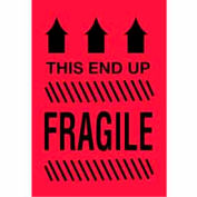 """This Side Up Fragile 2"""" x 3"""" - Fluorescent Red / Black"""