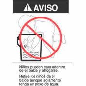 "Warning (Bucket Label) In Spanish 2-7/8"" x 5"" - White / Black / Red"