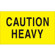 "Caution Heavy 3"" x 5"" - Bright Yellow / Black"