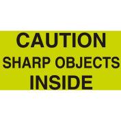"Caution Sharp Objects 3"" x 5"" - Fluorescent Green / Black"