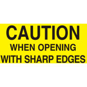 """Caution When Opening With Sharp 3"""" x 5"""" - Bright Yellow / Black"""