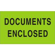 "Documents Enclosed 3"" x 5"" - Fluorescent Green / Black"