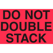 """""""Do Not Double Stack"""" Labels, 5""""L x 3""""W, Fluorescent Red, Roll of 500"""