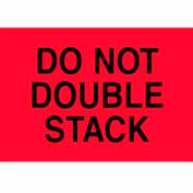 """""""Do Not Double Stack"""" Labels, 6""""L x 4""""W, Fluorescent Red, Roll of 500"""