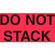 """Paper Labels w/ """"Do Not Stack"""" Print, 5""""L x 3""""W, Fluorescent Red & Black, Roll of 500"""