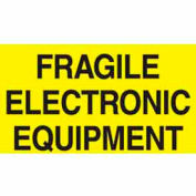 "Fragile Electric Equipment 3"" x 5"" C - Bright Yellow / Black"