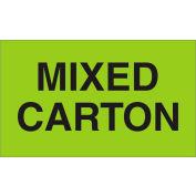 "Labels w/ ""Mixed Carton"" Print, 5""L x 3""W, Fluorescent Green, Roll of 500"