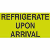 """Refrigerate Upon Arrival 2"""" x 3"""" - Fluorescent Green / Black"""
