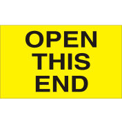 """Open This End 3"""" x 5"""" - Bright Yellow / Black"""