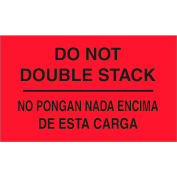"""""""Do Not Double Stack"""" Print Bilingual Labels, 5""""L x 3""""W, Fluorescent Red, Roll of 500"""