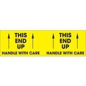 "This End Up - Handle With Care 3"" x 10"" - Bright Yellow / Black"