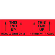 "This End Up - Handle With Care 3"" x 10"" - Fluorescent Red / Black"