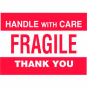 """Handle With Care-Fragile Thank You 4"""" x 6"""" - White / Red"""
