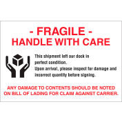 """Paper Labels w/ """"Fragile Handle w/ Care"""" Print, 6""""L x 4""""W, White/Red/Black, Roll of 500"""
