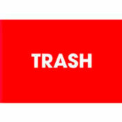 "Trash 2"" x 3"" - Red / White"