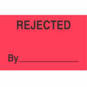 "Rejected By 1-3/8"" x 2"" - Fluorescent Red / Black"