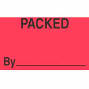 """Packed By 1-3/8"""" x 2"""" - Fluorescent Red / Black"""
