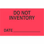 """Do Not Inventory Date 3"""" x 5"""" - Fluorescent Red / Black"""