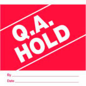 """Paper Labels w/ """"QA Hold"""" Print, 4""""L x 4""""W, Red & White, Roll of 500"""