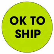 "Ok To Ship 2"" Dia. - Fluorescent Green / Black"