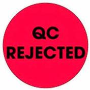 "Qc Rejected 2"" Dia. - Fluorescent Red / Black"