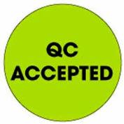 "Qc Accepted 2"" Dia. - Fluorescent Green / Black"